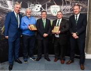 25 August 2018; FAI President Donal Conway presents a plack to Sean Dempsey from North End United and Enda Love from with Enniskillen Rangers FAI CEO John Delaney and Maurice Johnston President of the IFA Junior Committe at the President's Junior Cup Final match between North End United and Enniskillen Rangers at Home Farm FC in Whitehall, Dublin Photo by Matt Browne/Sportsfile