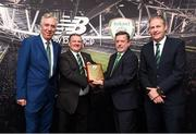 25 August 2018; FAI President Donal Conway presents a plack to Enda Love from Enniskillen Rangers with FAI CEO John Delaney and Maurice Johnston President of the IFA Junior Committe at the President's Junior Cup Final match between North End United and Enniskillen Rangers at Home Farm FC in Whitehall, Dublin Photo by Matt Browne/Sportsfile