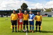 25 August 2018; Referee Barry Fitzpatrick with Richard Johnston captain of Enniskillen Rangers and Paul Murphy captain of North End United during the President's Junior Cup Final match between North End United and Enniskillen Rangers at Home Farm FC in Whitehall, Dublin Photo by Matt Browne/Sportsfile