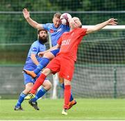 25 August 2018; Paul Murphy of North End United in action against Christopher Keenan of Enniskillen Rangers during the President's Junior Cup Final match between North End United and Enniskillen Rangers at Home Farm FC in Whitehall, Dublin Photo by Matt Browne/Sportsfile