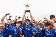 26 August 2018; Jack Barry captain of Leinster lifts the cup as his team-mates celebrate after the U18 Schools Interprovincial match between Leinster and Ulster at the University of Limerick in Limerick. Photo by Matt Browne/Sportsfile