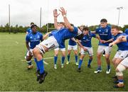 26 August 2018; Leinster captain Jack Barry celebrates with his team mates after the U18 Schools Interprovincial match between Leinster and Ulster at the University of Limerick in Limerick. Photo by Matt Browne/Sportsfile