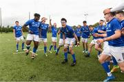 26 August 2018; Leinster captain Jack Barry, centre, celebrates with his team mates after the U18 Schools Interprovincial match between Leinster and Ulster at the University of Limerick in Limerick. Photo by Matt Browne/Sportsfile