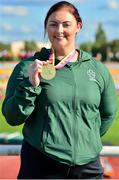 26 August 2018;  Orla Barry of Ireland with her Gold Medal from the F57 Discus event during the 2018 World Para Athletics European Championships at Friedrich-Ludwig-Jahn-Sportpark in Berlin, Germany. Photo by Luc Percival/Sportsfile