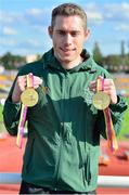 26 August 2018; Jason Smyth of Ireland with his Gold medals for the Men's T13 100m and 200m's events during the 2018 World Para Athletics European Championships at Friedrich-Ludwig-Jahn-Sportpark in Berlin, Germany. Photo by Luc Percival/Sportsfile