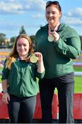 26 August 2018; Niamh McCarthy of Ireland, left, with her Gold Medal for the F41 Discus and team-mate Orla Barry with her Gold Medal for the F57 Discus event, during the 2018 World Para Athletics European Championships at Friedrich-Ludwig-Jahn-Sportpark in Berlin, Germany. Photo by Luc Percival/Sportsfile