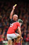 26 August 2018; Mark Coleman of Cork is shown a yellow card by referee John Keenan during the Bord Gais Energy GAA Hurling All-Ireland U21 Championship Final match between Cork and Tipperary at the Gaelic Grounds in Limerick. Photo by Sam Barnes/Sportsfile