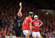 26 August 2018; Mark Coleman of Cork, centre, is shown a yellow card by referee John Keenan during the Bord Gais Energy GAA Hurling All-Ireland U21 Championship Final match between Cork and Tipperary at the Gaelic Grounds in Limerick. Photo by Sam Barnes/Sportsfile