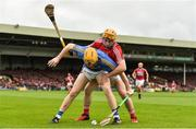 26 August 2018; Jake Morris of Tipperary in action against Niall O'Leary of Cork during the Bord Gais Energy GAA Hurling All-Ireland U21 Championship Final match between Cork and Tipperary at the Gaelic Grounds in Limerick. Photo by Sam Barnes/Sportsfile