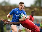 26 August 2018; Tim Corkery of Leinster is tackled by Chimdi Oji of Munster during the U18 Youths Interprovincial match between Leinster and Munster at the University of Limerick in Limerick.  Photo by Matt Browne/Sportsfile