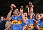 26 August 2018; Tipperary players, from left, Ger Browne, Jake Morris, and Lyndon Fairbrother celebrate after the Bord Gais Energy GAA Hurling All-Ireland U21 Championship Final match between Cork and Tipperary at the Gaelic Grounds in Limerick. Photo by Piaras Ó Mídheach/Sportsfile