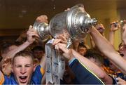 26 August 2018; Tipperary players, including Brian McGrath, left, celebrate with the James Nowlan Cup after the Bord Gais Energy GAA Hurling All-Ireland U21 Championship Final match between Cork and Tipperary at the Gaelic Grounds in Limerick. Photo by Piaras Ó Mídheach/Sportsfile
