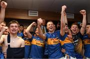 26 August 2018; Brian McGrath of Tipperary, centre, and his team-mates celebrate in the dressing room after the Bord Gais Energy GAA Hurling All-Ireland U21 Championship Final match between Cork and Tipperary at the Gaelic Grounds in Limerick. Photo by Piaras Ó Mídheach/Sportsfile