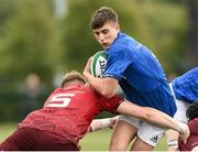 26 August 2018; Tim Corkery of Leinster is tackled by Craig Hannon of Munster during the U18 Youths Interprovincial match between Leinster and Munster at the University of Limerick in Limerick.  Photo by Matt Browne/Sportsfile