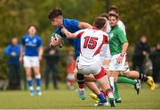 26 August 2018; Alex Soroka of Leinster is tackled by Conor Rankin of Ulster during the U18 Schools Interprovincial match between Leinster and Ulster at the University of Limerick in Limerick.  Photo by Matt Browne/Sportsfile