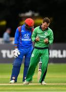 27 August 2018; Andy McBrine of Ireland celebrates after claiming the wicket of Rahmat Shah Zurmati of Afghanistan during the One Day International match between Ireland and Afghanistan at Stormont Cricket Ground, Belfast, Co. Antrim. Photo by Seb Daly/Sportsfile