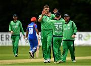 27 August 2018; Boyd Rankin of Ireland is congratulated by team-mate Andy McBrine after trapping Gulbadin Naib of Afghanistan LBW during the One Day International match between Ireland and Afghanistan at Stormont Cricket Ground, Belfast, Co. Antrim. Photo by Seb Daly/Sportsfile
