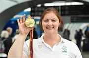 27 August 2018; Orla Barry with her Gold Medal from the Women's F57 Discus event during the Team Ireland return from the 2018 World Para Athletics European Championships at Dublin Airport in Dublin. Photo by Piaras Ó Mídheach/Sportsfile
