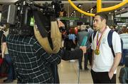 27 August 2018; Jason Smyth of Ireland is interviewed by RTÉ during the Team Ireland return from the 2018 World Para Athletics European Championships at Dublin Airport in Dublin. Photo by Piaras Ó Mídheach/Sportsfile