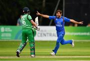 27 August 2018; Gulbadin Naib of Afghanistan celebrates after claiming the wicket of William Porterfield of Ireland during the One Day International match between Ireland and Afghanistan at Stormont Cricket Ground, Belfast, Co. Antrim. Photo by Seb Daly/Sportsfile