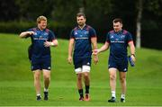 27 August 2018; Munster players, from left, Stephen Archer, Tadhg Beirne and Niall Scannell arrive for squad training at the University of Limerick in Limerick. Photo by Brendan Moran/Sportsfile