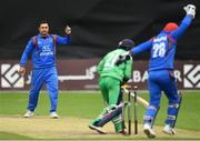27 August 2018; Mohammad Nabi of Afghanistan reacts after claiming the wicket of Simi Singh of Ireland during the One Day International match between Ireland and Afghanistan at Stormont Cricket Ground, Belfast, Co. Antrim. Photo by Seb Daly/Sportsfile