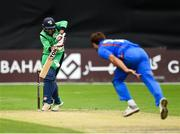 27 August 2018; Simi Singh of Ireland plays a shot off a delivery from Gulbadin Naib of Afghanistan during the One Day International match between Ireland and Afghanistan at Stormont Cricket Ground, Belfast, Co. Antrim. Photo by Seb Daly/Sportsfile