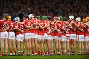 26 August 2018; Cork players stand for Amhrán na bhFiann before the Bord Gais Energy GAA Hurling All-Ireland U21 Championship Final match between Cork and Tipperary at the Gaelic Grounds in Limerick. Photo by Piaras Ó Mídheach/Sportsfile