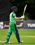 27 August 2018; Andrew Balbirnie of Ireland aknowledges the crowd after bringing up his half-century during the One Day International match between Ireland and Afghanistan at Stormont Cricket Ground, Belfast, Co. Antrim. Photo by Seb Daly/Sportsfile
