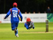 27 August 2018; Shafiqullah Shafaq of Afghanistan drops a catch during the One Day International match between Ireland and Afghanistan at Stormont Cricket Ground, Belfast, Co. Antrim. Photo by Seb Daly/Sportsfile