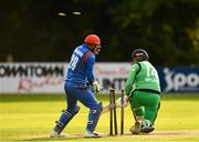 27 August 2018; Gary Wilson of Ireland is bowled out by Rashid Khan Arman of Afghanistan during the One Day International match between Ireland and Afghanistan at Stormont Cricket Ground, Belfast, Co. Antrim. Photo by Seb Daly/Sportsfile