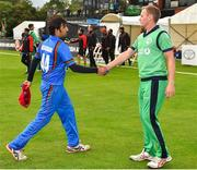 27 August 2018; Captains Asghar Afghan of Afghanistan and William Porterfield of Ireland shake hands following the One Day International match between Ireland and Afghanistan at Stormont Cricket Ground, Belfast, Co. Antrim. Photo by Seb Daly/Sportsfile