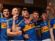 26 August 2018; Tipperary players celebrate in the dressing room after the Bord Gais Energy GAA Hurling All-Ireland U21 Championship Final match between Cork and Tipperary at the Gaelic Grounds in Limerick. Photo by Piaras Ó Mídheach/Sportsfile