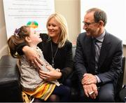 28 August 2018; Republic of Ireland manager Martin O'Neill with Aoibhín Egan and her mother Ruth, from Caragh, Co Kildare, during a visit to the Jack & Jill Children's Foundation at Johnstown Manor in Naas, Co Kildare. Republic of Ireland manager Martin O'Neill and John Delaney, CEO, Football Association of Ireland, dropped in to meet Jack & Jill families and nurses. From their headquarters, Jack & Jill provides a nationwide home nursing care and respite service to 355 children with severe to profound neurodevelopmental delay currently under their wing. The charity also provides end of life care to children under 5 years of age going home to die. Martin and John had a chat with some of the children and their families as the charity gets ready for Jack & Jill Week running from 7th to 13th October. See www.jackandjill.ie. Photo by Stephen McCarthy/Sportsfile