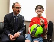 28 August 2018; Republic of Ireland manager Martin O'Neill with Jake Egan, age 10, from Caragh, Co Kildare, during a visit to the Jack & Jill Children's Foundation at Johnstown Manor in Naas, Co Kildare. Republic of Ireland manager Martin O'Neill and John Delaney, CEO, Football Association of Ireland, dropped in to meet Jack & Jill families and nurses. From their headquarters, Jack & Jill provides a nationwide home nursing care and respite service to 355 children with severe to profound neurodevelopmental delay currently under their wing. The charity also provides end of life care to children under 5 years of age going home to die. Martin and John had a chat with some of the children and their families as the charity gets ready for Jack & Jill Week running from 7th to 13th October. See www.jackandjill.ie. Photo by Stephen McCarthy/Sportsfile
