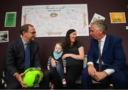 28 August 2018; Republic of Ireland manager Martin O'Neill and John Delaney, CEO, Football Association of Ireland, meet two-year-old Harry O'Brien and his mother Maria, from Sallins, Co Kildare, during a visit to the Jack & Jill Children's Foundation at Johnstown Manor in Naas, Co Kildare. Republic of Ireland manager Martin O'Neill and John Delaney, CEO, Football Association of Ireland, dropped in to meet Jack & Jill families and nurses. From their headquarters, Jack & Jill provides a nationwide home nursing care and respite service to 355 children with severe to profound neurodevelopmental delay currently under their wing. The charity also provides end of life care to children under 5 years of age going home to die. Martin and John had a chat with some of the children and their families as the charity gets ready for Jack & Jill Week running from 7th to 13th October. See www.jackandjill.ie. Photo by Stephen McCarthy/Sportsfile