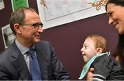 28 August 2018; Republic of Ireland manager Martin O'Neill meets two-year-old Harry O'Brien and his mother Maria, from Sallins, Co Kildare, during a visit to the Jack & Jill Children's Foundation at Johnstown Manor in Naas, Co Kildare. Republic of Ireland manager Martin O'Neill and John Delaney, CEO, Football Association of Ireland, dropped in to meet Jack & Jill families and nurses. From their headquarters, Jack & Jill provides a nationwide home nursing care and respite service to 355 children with severe to profound neurodevelopmental delay currently under their wing. The charity also provides end of life care to children under 5 years of age going home to die. Martin and John had a chat with some of the children and their families as the charity gets ready for Jack & Jill Week running from 7th to 13th October. See www.jackandjill.ie. Photo by Stephen McCarthy/Sportsfile