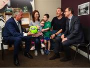 28 August 2018; Republic of Ireland manager Martin O'Neill and John Delaney, CEO, Football Association of Ireland, meet the Cryan family, David and Siobhan with Zoe, age 4, and Dylan, from Lucan, Dublin, during a visit to the Jack & Jill Children's Foundation at Johnstown Manor in Naas, Co Kildare. Republic of Ireland manager Martin O'Neill and John Delaney, CEO, Football Association of Ireland, dropped in to meet Jack & Jill families and nurses. From their headquarters, Jack & Jill provides a nationwide home nursing care and respite service to 355 children with severe to profound neurodevelopmental delay currently under their wing. The charity also provides end of life care to children under 5 years of age going home to die. Martin and John had a chat with some of the children and their families as the charity gets ready for Jack & Jill Week running from 7th to 13th October. See www.jackandjill.ie. Photo by Stephen McCarthy/Sportsfile