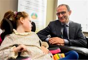 28 August 2018; Republic of Ireland manager Martin O'Neill meets Aoibhín Egan, age 8, from Caragh, Kildare, during a visit to the Jack & Jill Children's Foundation at Johnstown Manor in Naas, Co Kildare. Republic of Ireland manager Martin O'Neill and John Delaney, CEO, Football Association of Ireland, dropped in to meet Jack & Jill families and nurses. From their headquarters, Jack & Jill provides a nationwide home nursing care and respite service to 355 children with severe to profound neurodevelopmental delay currently under their wing. The charity also provides end of life care to children under 5 years of age going home to die. Martin and John had a chat with some of the children and their families as the charity gets ready for Jack & Jill Week running from 7th to 13th October. See www.jackandjill.ie. Photo by Stephen McCarthy/Sportsfile