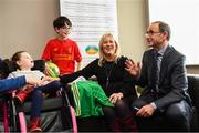 28 August 2018; Republic of Ireland manager Martin O'Neill meets Ruth Egan, from Caragh, Co Kildare, with Aoibhín, age 8, and Jake, age, 10, during a visit to the Jack & Jill Children's Foundation at Johnstown Manor in Naas, Co Kildare. Republic of Ireland manager Martin O'Neill and John Delaney, CEO, Football Association of Ireland, dropped in to meet Jack & Jill families and nurses. From their headquarters, Jack & Jill provides a nationwide home nursing care and respite service to 355 children with severe to profound neurodevelopmental delay currently under their wing. The charity also provides end of life care to children under 5 years of age going home to die. Martin and John had a chat with some of the children and their families as the charity gets ready for Jack & Jill Week running from 7th to 13th October. See www.jackandjill.ie. Photo by Stephen McCarthy/Sportsfile