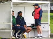 28 August 2018; Head coach Andy Friend, right, chats with Tom Farrell, left, and Bundee Aki during Connacht Rugby squad training at the Sportsground in Galway. Photo by Sam Barnes/Sportsfile