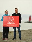 28 August 2018; The Big Swim: 98FM's Brian Maher will swim 10k to raise funds for Irish athletes competing in the 2019 Special Olympics World Games in Abu Dhabi. Pictured are Special Olympic athlete Edel Armstrong and 98FM DJ Brian Maher at the Poolbeg Lighthouse in Dublin. Photo by Eóin Noonan/Sportsfile