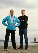 28 August 2018; The Big Swim: 98FM's Brian Maher will swim 10k to raise funds for Irish athletes competing in the 2019 Special Olympics World Games in Abu Dhabi. Pictured is 98FM DJ Brian Maher and Special Olympic athlete Edel Armstrong at the Poolbeg Lighthouse in Dublin. Photo by Eóin Noonan/Sportsfile