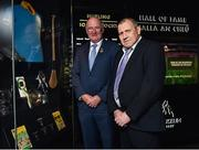28 August 2018; Limerick hurler Leonard Enright, right, and Uachtarain Cumann Luthchleas Gael John Horan during the announcement of the 2018 inductees into the GAA Museum Hall of Fame at the GAA Museum Auditorium at Croke Park in Dublin. Photo by Seb Daly/Sportsfile