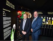 28 August 2018; Limerick hurler Leonard Enright, left, and Uachtarain Cumann Luthchleas Gael John Horan during the announcement of the 2018 inductees into the GAA Museum Hall of Fame at the GAA Museum Auditorium at Croke Park in Dublin. Photo by Seb Daly/Sportsfile