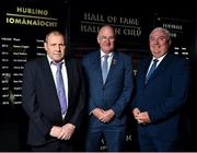 28 August 2018; Former Limerick hurler Leonard Enright, left, and former Armagh footballer Joe Kernan, alongside Uachtarain Cumann Luthchleas Gael John Horan, after being announced as the 2018 inductees into the GAA Museum Hall of Fame at the GAA Museum Auditorium at Croke Park in Dublin. Photo by Seb Daly/Sportsfile