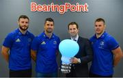 28 August 2018; At the announcement of Leinster Rugby's new innovation partnership with BearingPoint is Eric Conway, Partner and Country Leader of BearingPoint Ireland, with Leinster Rugby players, from left, Robbie Henshaw with Rob Kearney and Seán O'Brien. Management and technology consultancy BearingPoint today signed a five-year deal to become Leinster's Rugby's Official Innovation Partner. As Innovation Partner, BearingPoint will work with Leinster Rugby toward achieving its strategic organisational goals, including its ambitions to provide a best-in-class experience for rugby supporters at the RDS Arena, expand its fan-base and progress the use of data and analytics in both professional and domestic rugby. Photo by Ramsey Cardy/Sportsfile