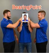 28 August 2018; At the announcement of Leinster Rugby's new innovation partnership with BearingPoint are Leinster Rugby players, from left, Robbie Henshaw with Rob Kearney and Seán O'Brien. Management and technology consultancy BearingPoint today signed a five-year deal to become Leinster's Rugby's Official Innovation Partner. As Innovation Partner, BearingPoint will work with Leinster Rugby toward achieving its strategic organisational goals, including its ambitions to provide a best-in-class experience for rugby supporters at the RDS Arena, expand its fan-base and progress the use of data and analytics in both professional and domestic rugby. Photo by Ramsey Cardy/Sportsfile