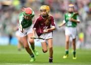 19 August 2018; Caoimhe Kelly, Scoil Bhríde, Ballinasloe, Co Galway, representing Galway, in action against Niamh Toland, St Patrick's Girls, Carndonagh, Donegal, representing Limerick, during the INTO Cumann na mBunscol GAA Respect Exhibition Go Games at the GAA Hurling All-Ireland Senior Championship Final match between Galway and Limerick at Croke Park in Dublin. Photo by Eóin Noonan/Sportsfile