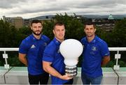 28 August 2018; At the announcement of Leinster Rugby's new innovation partnership with BearingPoint are Leinster Rugby players, from left, Robbie Henshaw, Seán O'Brien and Rob Kearney. Management and technology consultancy BearingPoint today signed a five-year deal to become Leinster's Rugby's Official Innovation Partner. As Innovation Partner, BearingPoint will work with Leinster Rugby toward achieving its strategic organisational goals, including its ambitions to provide a best-in-class experience for rugby supporters at the RDS Arena, expand its fan-base and progress the use of data and analytics in both professional and domestic rugby. Photo by Ramsey Cardy/Sportsfile